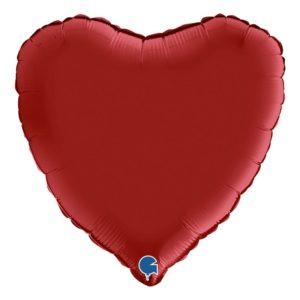 Folieballong Hjärta Rubinröd