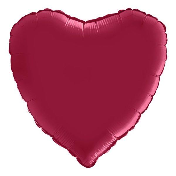 Folieballong Hjärta Satin Cherry
