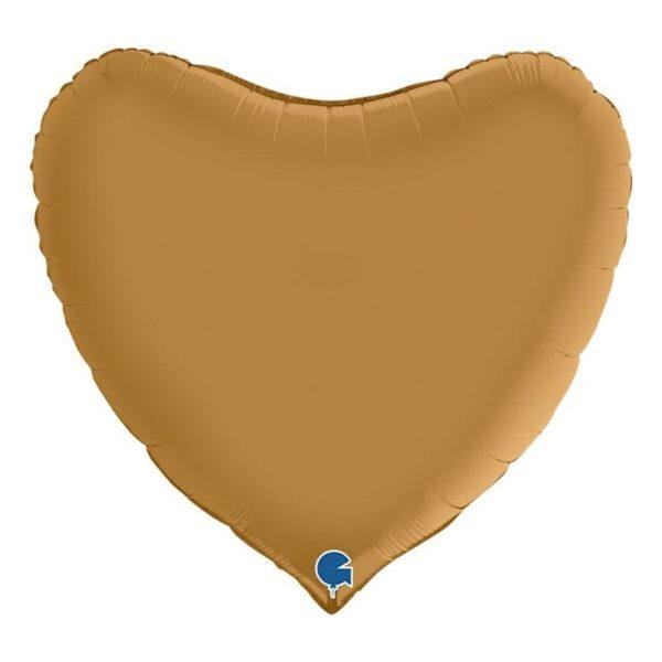 Folieballong Hjärta Satin Guld - 91 cm
