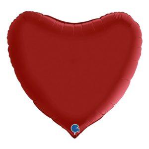 Folieballong Hjärta Satin Rubinröd - 91 cm