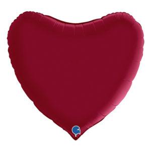 Folieballong Hjärta Stort Vinröd