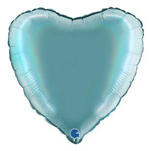 Folieballong Holografisk Blågrön Hjärta