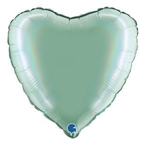 Folieballong Holografisk Grönblå Hjärta