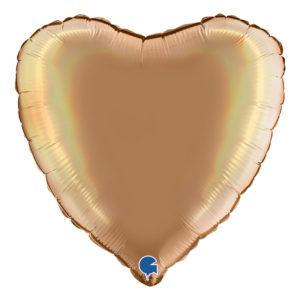 Folieballong Holografisk Guld Hjärta