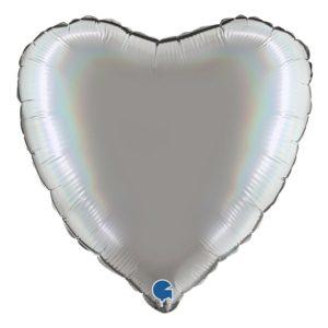 Folieballong Holografisk Silver Hjärta