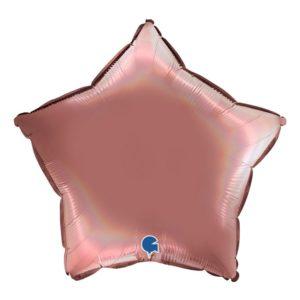 Folieballong Stjärna Holografisk Roséguld - 45 cm