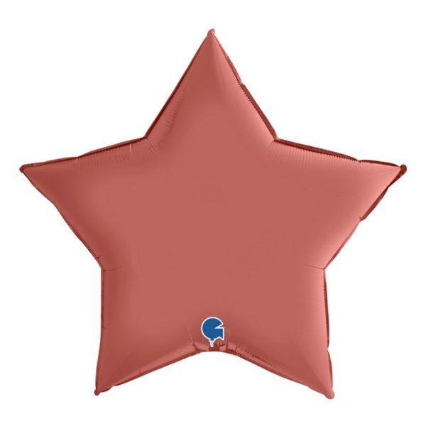 Folieballong Stjärna Satin Roséguld - 91 cm