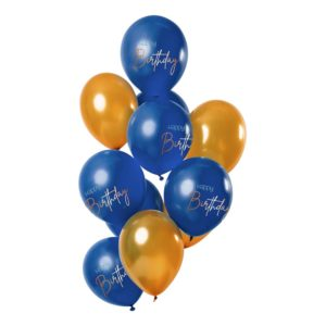 Latexballonger Happy Birthday True Blue - 12-pack