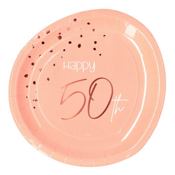Papperstallrikar Happy 50th Lush Blush - 8-pack
