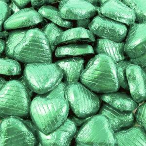 Chokladhjärtan i Ljusgrön Folie