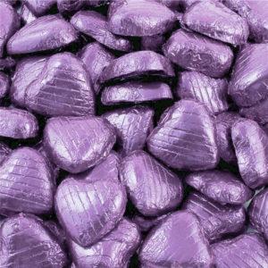 Chokladhjärtan i Ljuslila Folie