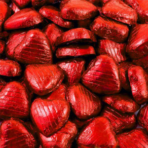 Chokladhjärtan i Röd Folie