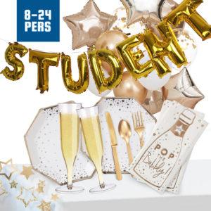 Studentpaket Deluxe Guld/Vit - 8 personer