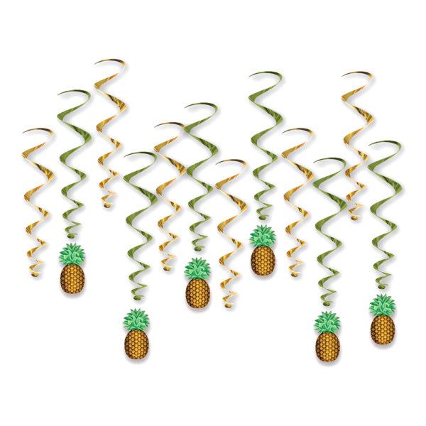Swirls Ananas Hängande Dekoration - 12-pack