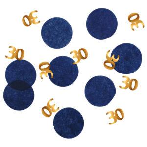 30-års Konfetti Mörkblå & Guld