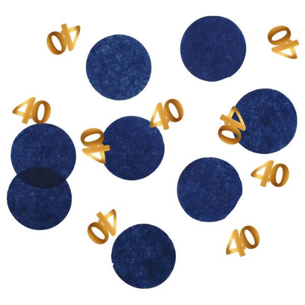 40-års Konfetti Mörkblå & Guld