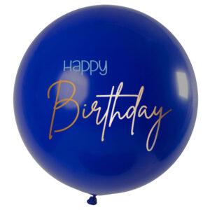 Stor Happy Birthday Ballong Mörkblå & Guld