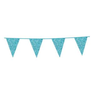 Flaggirlang Babyblå Glitter - 600 cm