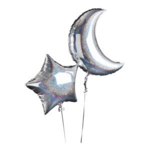 Folieballong Stjärna & Måne Silver - 1-pack