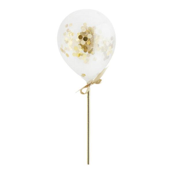 Konfettiballonger Mini på Pinne Guld - 5-pack