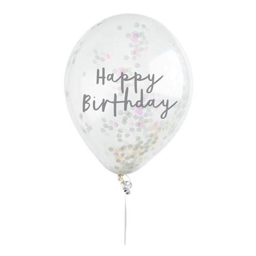 Konfettiballonger Skimrande Happy Birthday - 5-pack