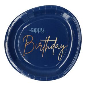 Papperstallrikar Happy Birthday True Blue - 8-pack