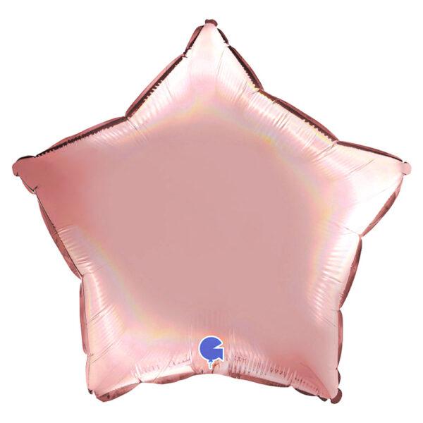 Ballong Stjärna Holografisk Platinum Rosé