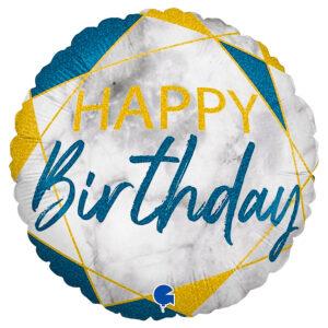 Marble Happy Birthday Holografisk Ballong Mörkblå