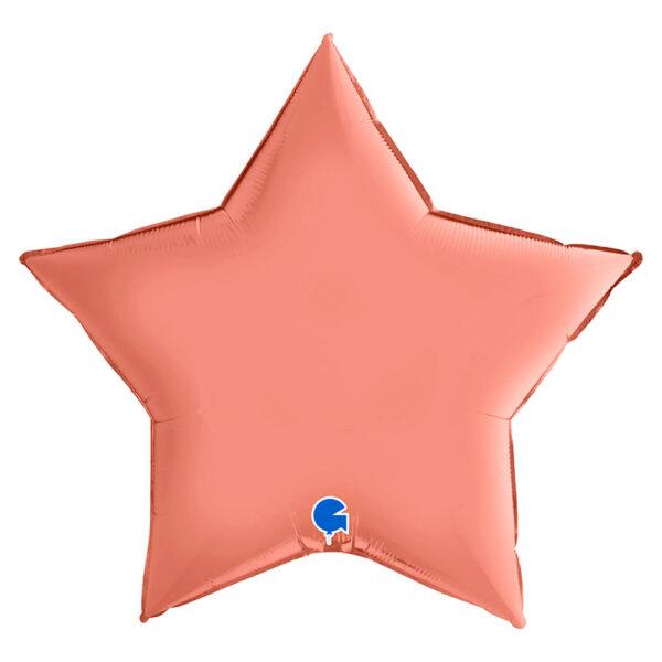 Stor Folieballong Stjärna Satin Roséguld