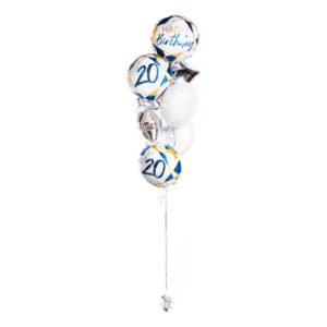Ballongbukett Happy Birthday 20 Blå/Guld