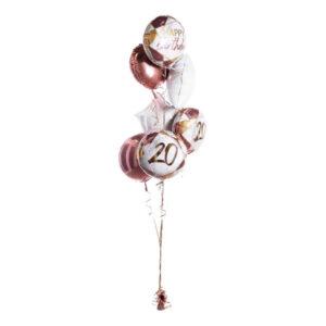 Ballongbukett Happy Birthday 20 Roséguld
