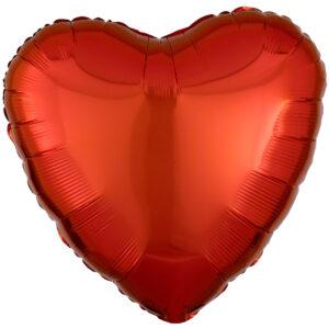 Folieballong, hjärta-Orange