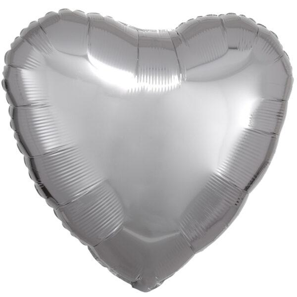 Folieballong, hjärta-Silver