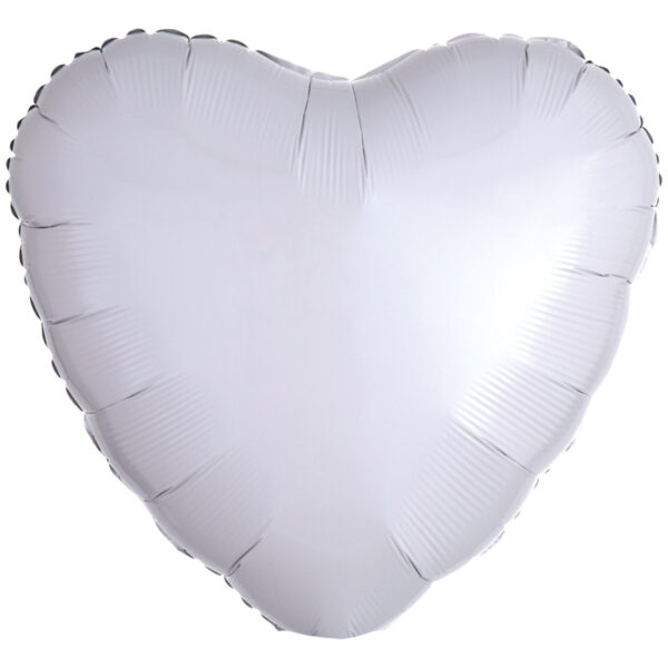 Folieballong, hjärta-Vit