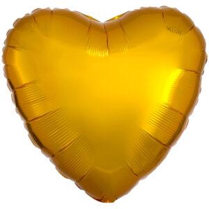 Folieballong, hjärta-Guld