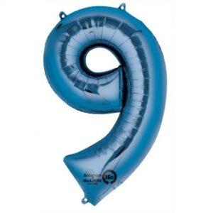Folieballong siffra, blå-9