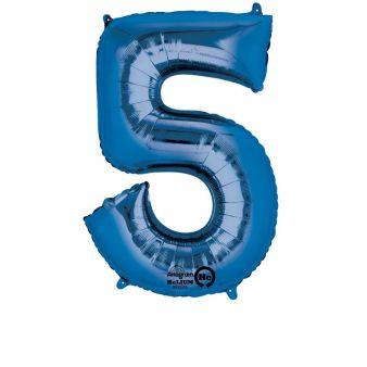Folieballong siffra, blå-5