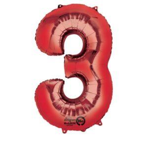 Folieballong siffra, röd-3