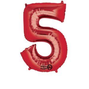 Folieballong siffra, röd-5