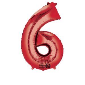 Folieballong siffra, röd-6