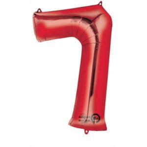 Folieballong siffra, röd-7