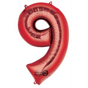 Folieballong siffra, röd-9