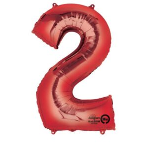 Folieballong siffra, röd-2