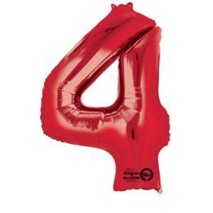 Folieballong siffra, röd-4