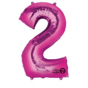 Folieballong siffra, rosa-2