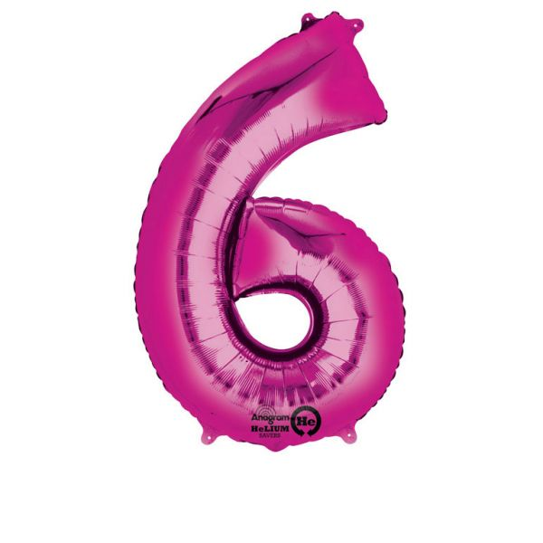 Folieballong siffra, rosa-6