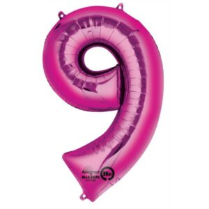 Folieballong siffra, rosa-9