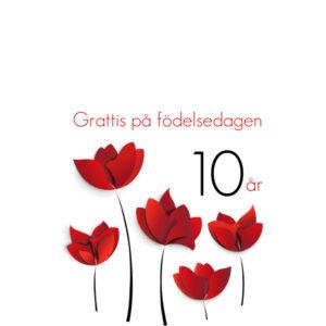 10år Röda blommor