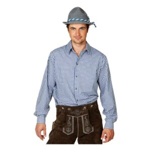 Blå/Vit Rutig Skjorta för Män - Large