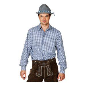 Blå/Vit Rutig Skjorta för Män - Medium